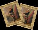 """Zwei alte Gemälde, Ganzkörper Porträts vom """"Grafen von Wintzingerode"""" in goldenen Bilderrahmen."""