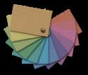 Farbmuster-Fächer aus Leder